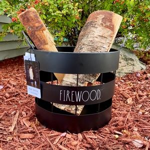 NEW - Rae Dunn - FIREWOOD - black metal container